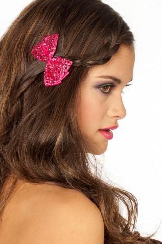 Roze glitter haarclip met strikje
