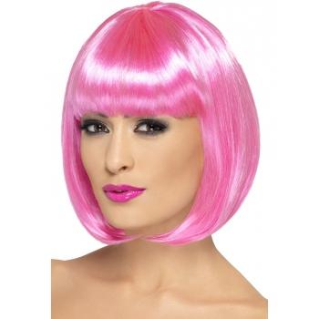 Roze korte damespruik met pony