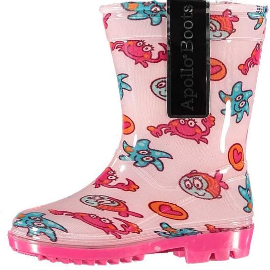 Roze peuter regenlaarzen met zeedieren