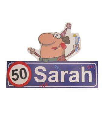 Sarah 50 jaar decoratie bordje 48 x 35 cm