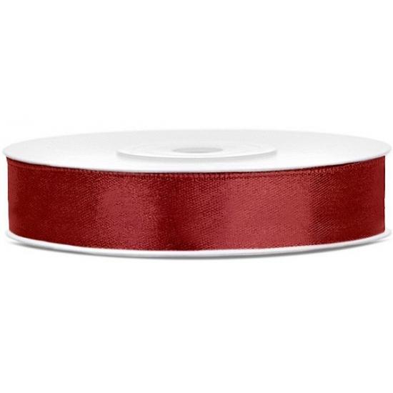 Satijn sierlint bordeaux rood 12 mm