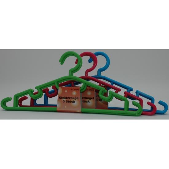 Setje van 3 plastic kledinghangers
