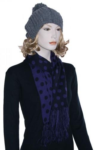 Sjaal in de kleur paars met zwart