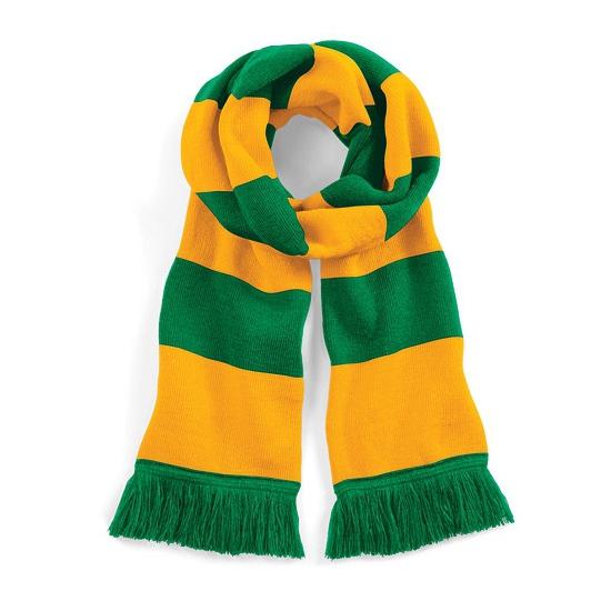 Sjaal met brede streep groen/geel