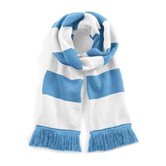 Sjaal met brede streep lichtblauw/wit