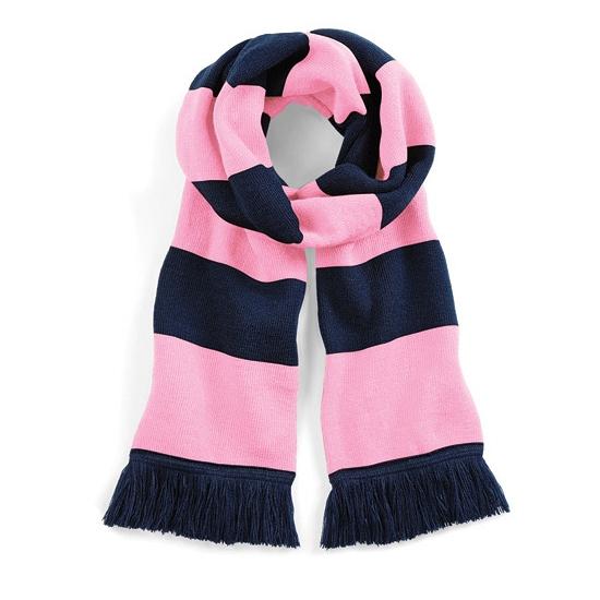 Sjaal met brede streep navy/roze