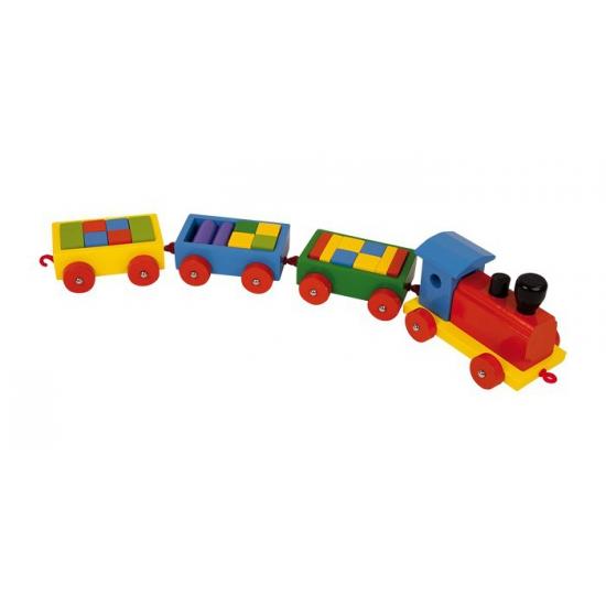 Speelgoed trein met bouw blokjes