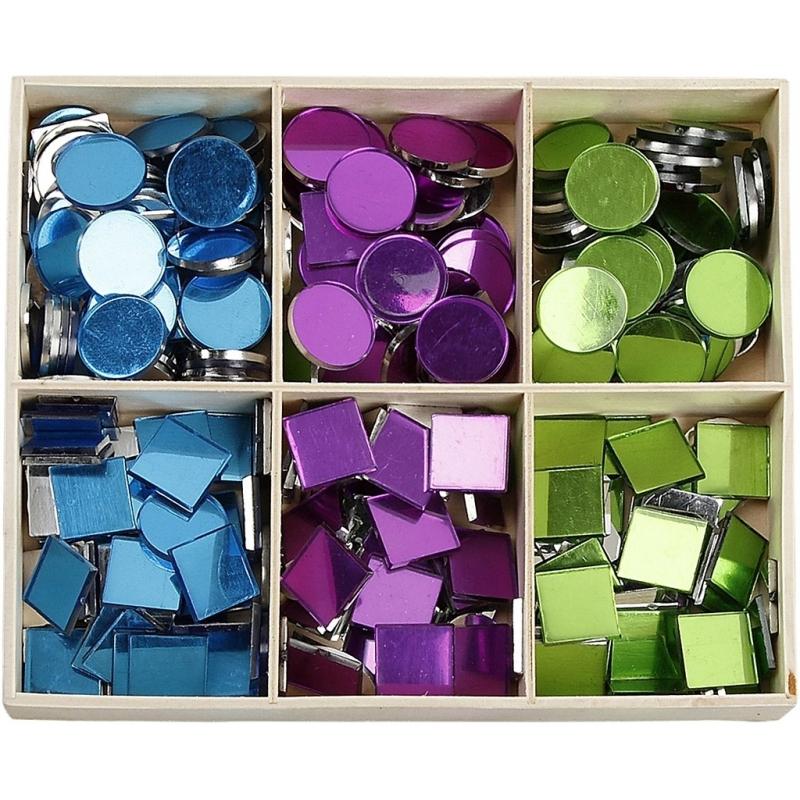 Spiegel mozaiek tegels kleuren 15 mm 300 stuks