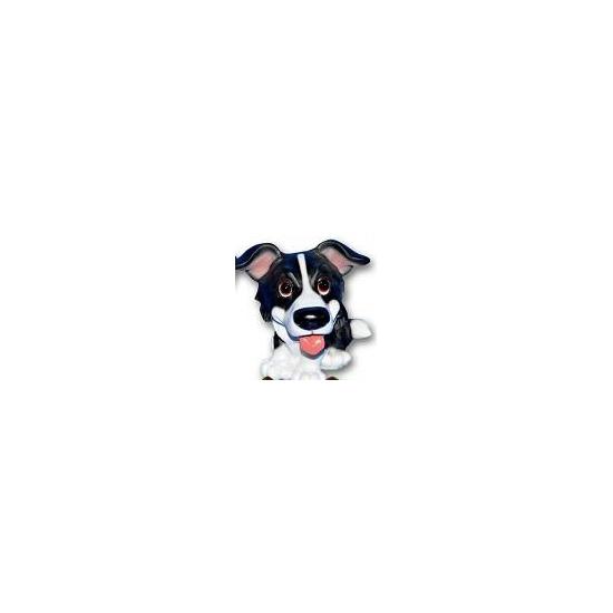 Stenen Border collie puppie zittend 13 cm