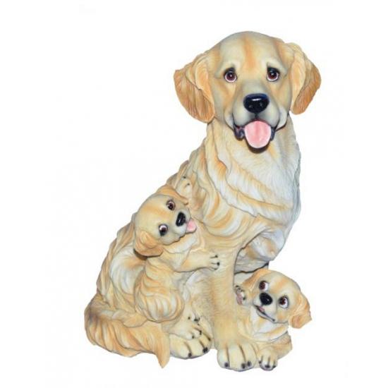 Stenen Golden Retriever met puppies zittend 35 cm