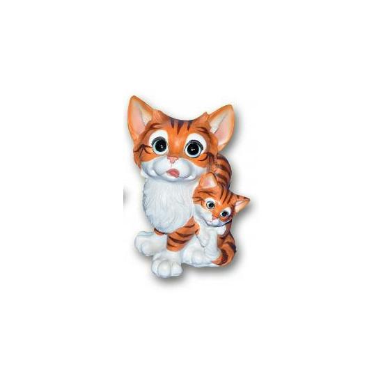 Stenen kat met kitten bruin zittend 18 cm