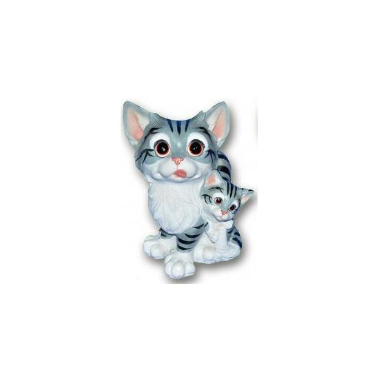 Stenen kat met kitten grijs zittend 18 cm