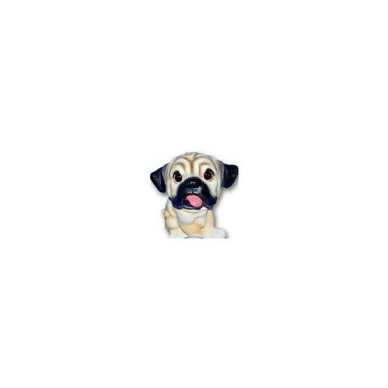 Stenen Mopshond puppie zittend 13 cm
