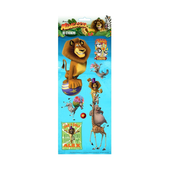 Stickervel 3D Madagascar