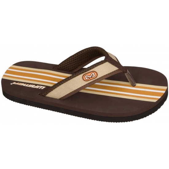 Strand slippers met bruine print