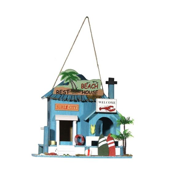 Strandhuis vogelhuisjes blauw 21 cm