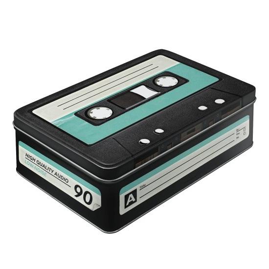 Tinnen retro cassette blik