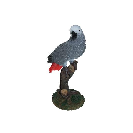 Tuinbeeldje papegaai grijs 20 cm