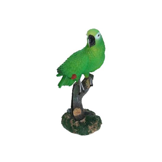 Tuinbeeldje papegaai groen 20 cm