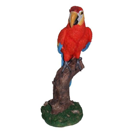 Tuinbeeldje papegaai rood 32 cm
