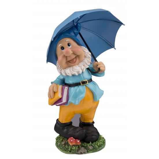 Tuinkabouter beeld met blauwe paraplu
