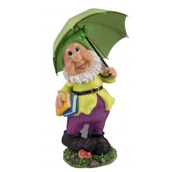 Tuinkabouter beeld met groene paraplu
