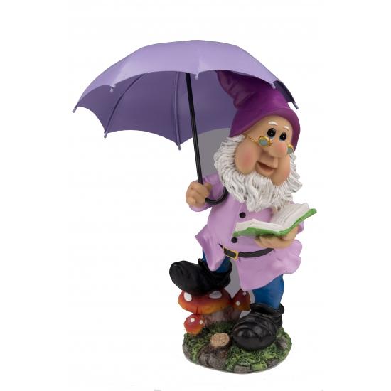 Tuinkabouter beeld met paarse paraplu