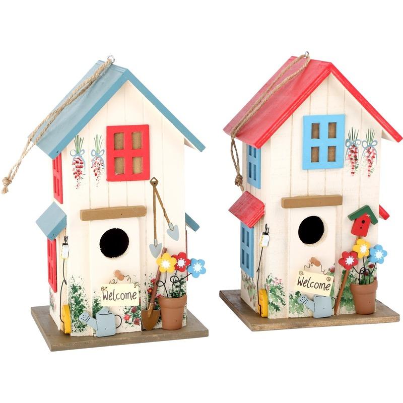 Twee vogelhuisjes rood en blauw