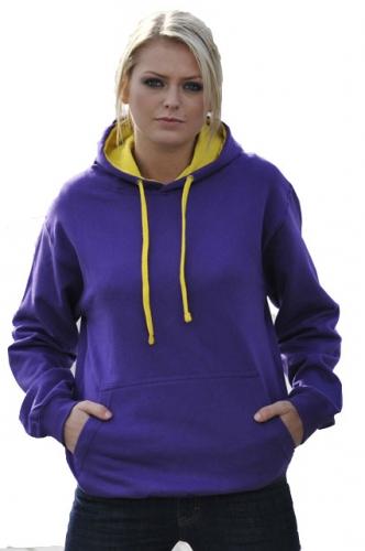 Varsity hoodie paars met gele capuchon