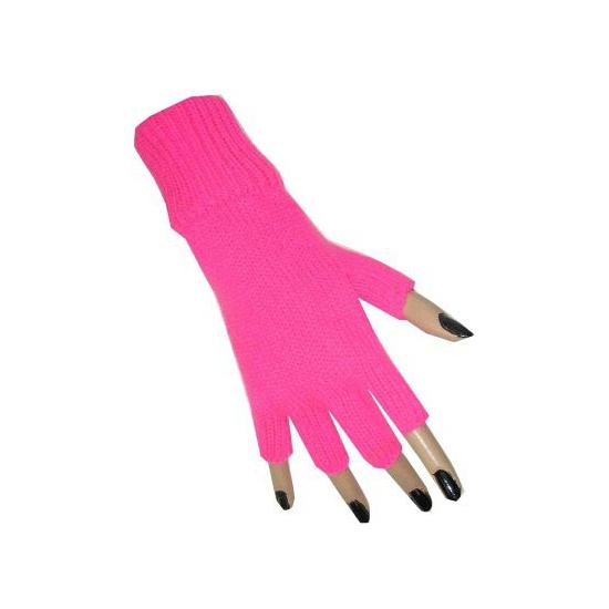 Neon roze vingerloze handschoen