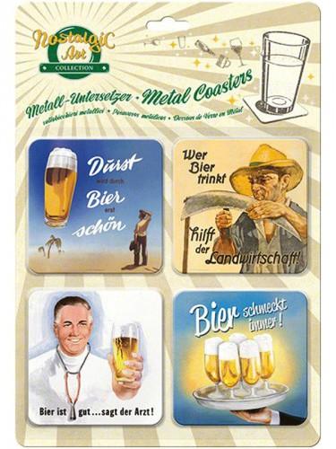 Vintage stijl bier onderzetters 9 x 9 cm