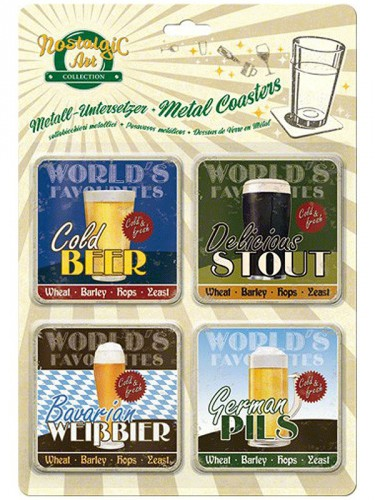 Vintage stijl biertjes onderzetters 9 x 9 cm