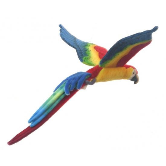 Vliegende knuffel papegaai gekleurd 56 cm