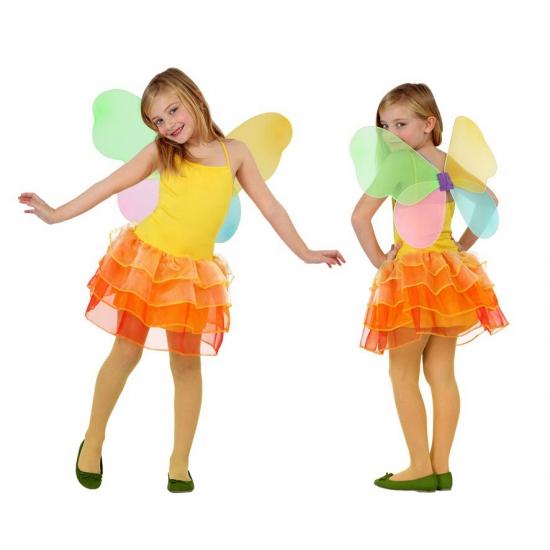 Vlinder kinder kostuum geel met oranje