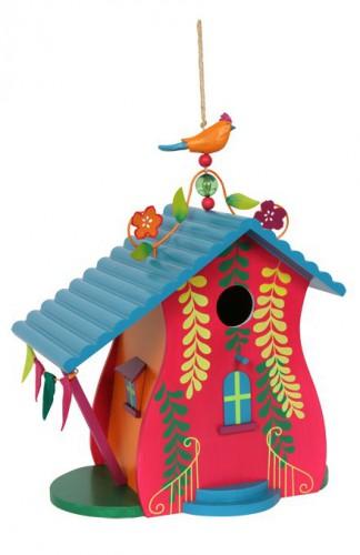 Vogelhuisje met tropische beschildering