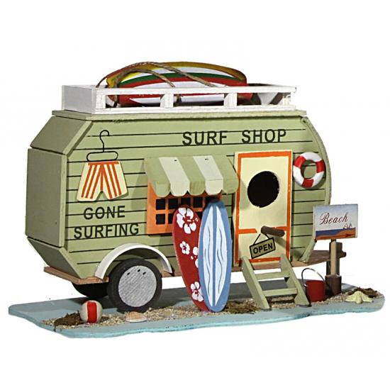 Vogelhuisje Surf Shop caravan 28 cm