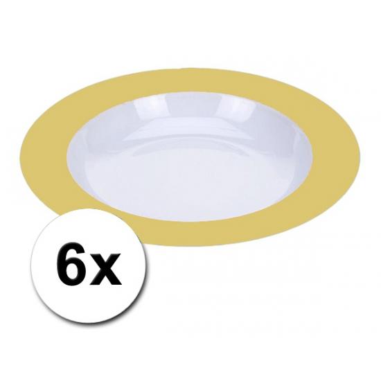 Voordelige diepe plastic borden geel 6 stuks