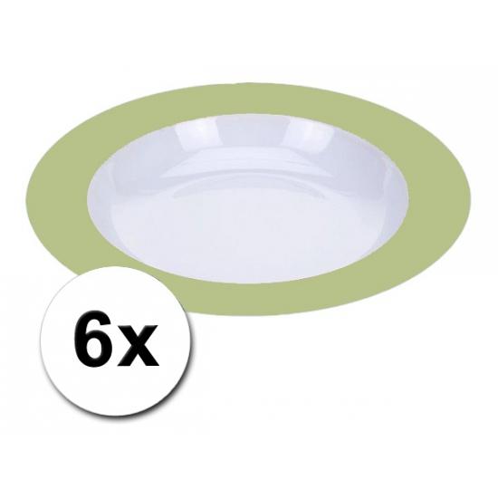 Voordelige diepe plastic borden groen 6 stuks