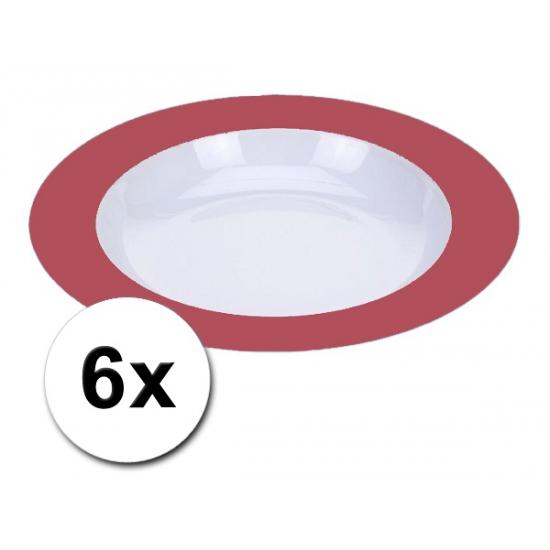 Voordelige diepe plastic borden rood 6 stuks