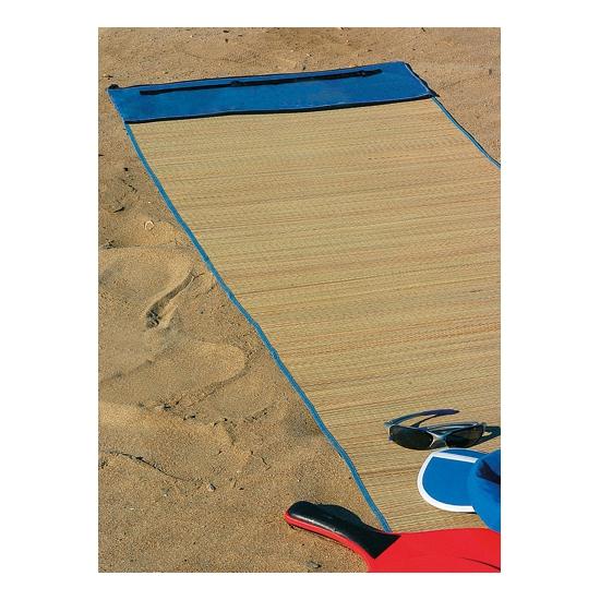 Voordelige rieten strandmat blauw