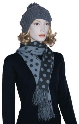 Warme retro sjaal met stippen grijs