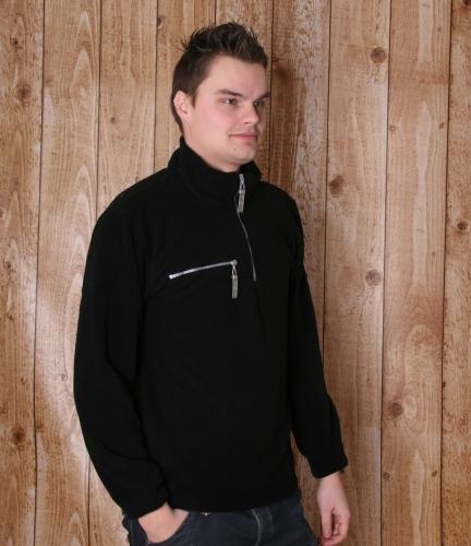 Warme zwart gekleurde fleece trui
