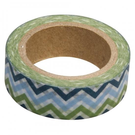 Washi knutsel tape zigzag blauw/groen