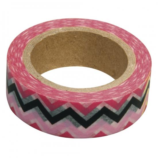 Washi knutsel tape zigzag roze