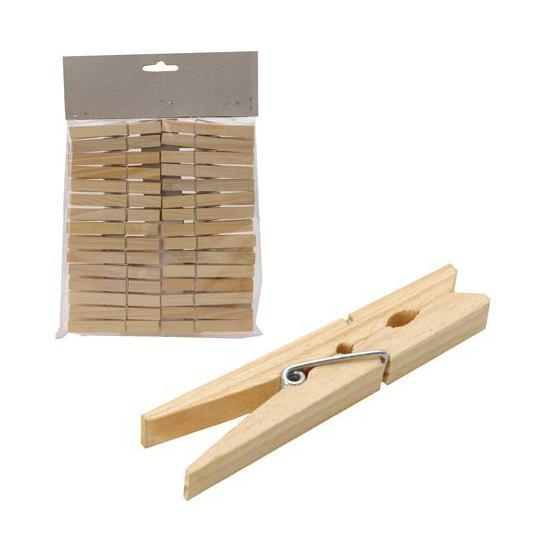 Wasknijpers van hout 30 stuks
