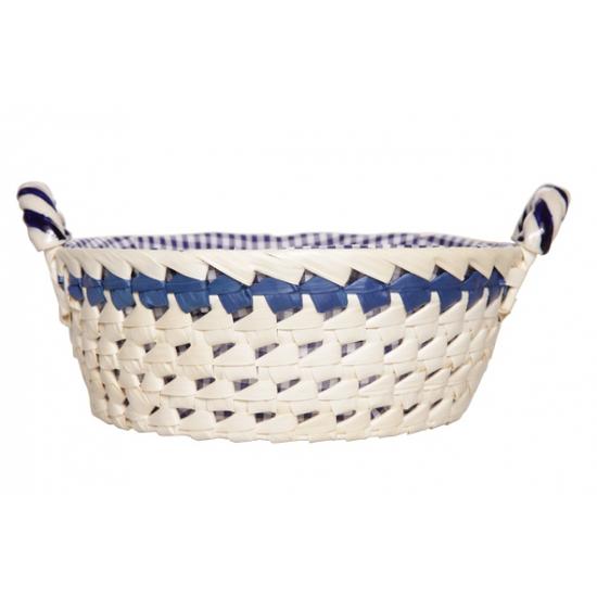 Wit met blauw mandje 25 cm