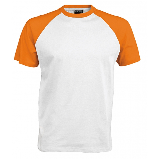 Wit/oranje t shirts voor heren