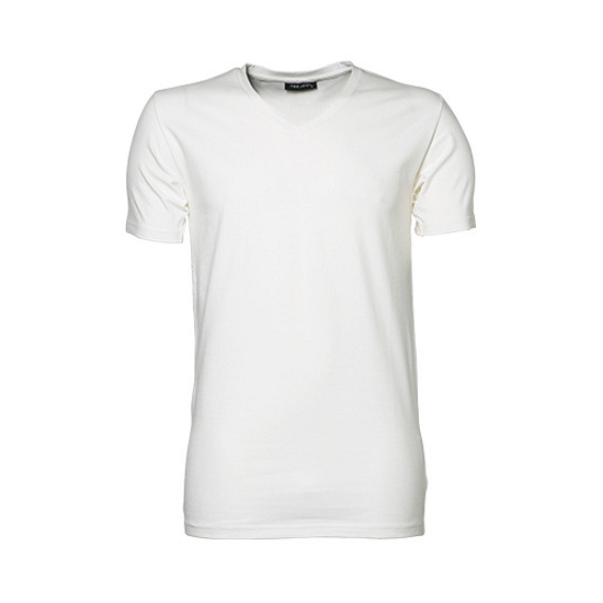 Wit stretch shirt met V hals