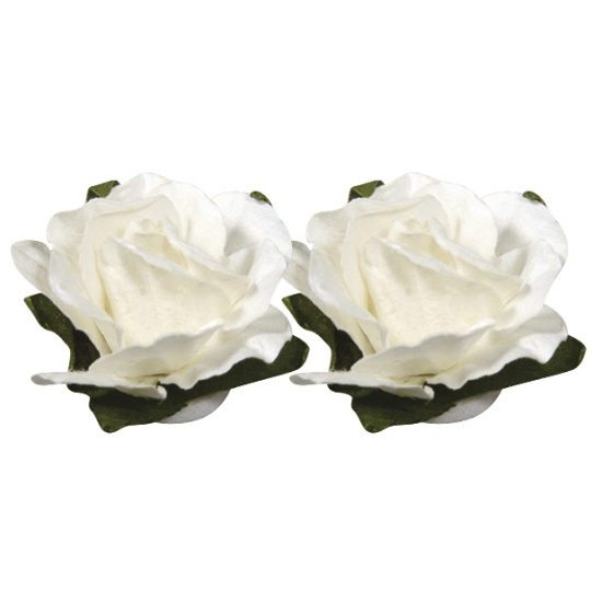Witte bloemetjes van papier 1,5 cm