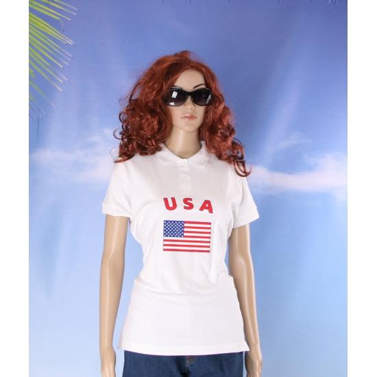 Witte dames poloshirt USA
